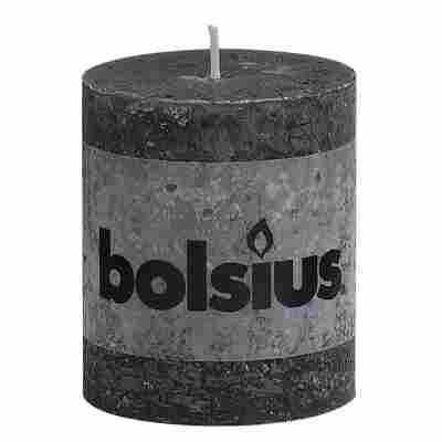 Stumpenkerze 'Rustik' anthrazit Ø 6,8 x 8 cm