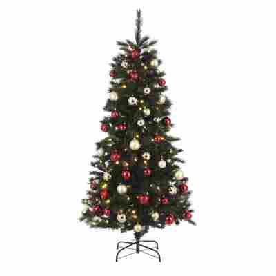 Künstlicher Weihnachtsbaum 'Voss' grün/rot/gold 185 cm, mit LED-Beleuchtung