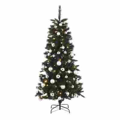 Künstlicher Weihnachtsbaum 'Voss' grün/silber/minze 185 cm, mit LED-Beleuchtung