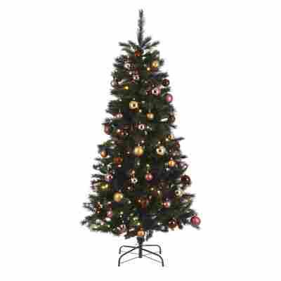 Künstlicher Weihnachtsbaum 'Voss' grün/braun/rosa 185 cm, mit LED-Beleuchtung