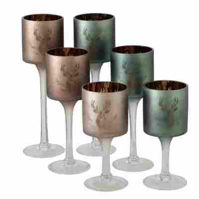 Windlicht 'Rudolf' Glas 25 cm, 2 Farben sortiert