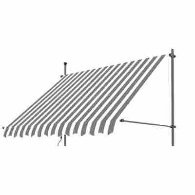 Klemmarmmarkise grau/weiß 300 x 130 cm