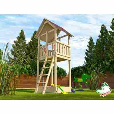 Spielturm mit Sandkasten, naturfarben, 150 x 331 x 165 cm