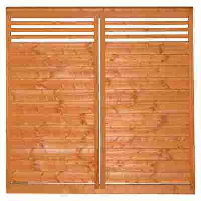 Sichtschutzzaun 'Lindenthal' kirschbaumfarben lasiert 180 x 180 cm