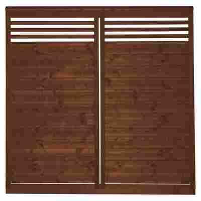 Sichtschutzzaun 'Lindenthal' tabakfarben lasiert 180 x 180 cm