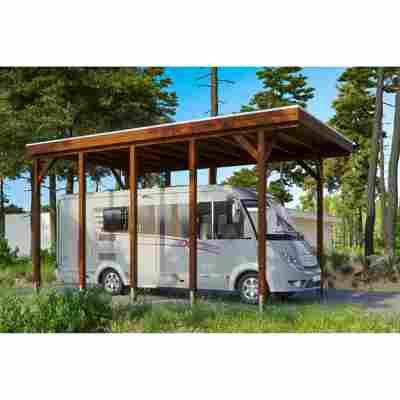 Caravan-Carport 'Friesland' 397 x 708 cm nussbaum