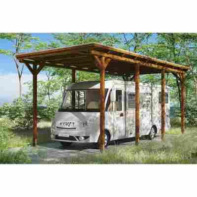 Caravan-Carport 'Emsland' 404 x 846 cm nussbaum