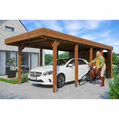 Carport 'Friesland' Set 2 m. Abstellraum 314 x 708 cm nussbaum
