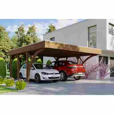 Carport 'Friesland' Set 8 mit 2 Einfahrtsbögen 557 x 555 cm nussbaum