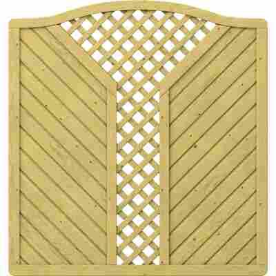 Zaunelement 'Gada' Krone mit V-Gitter braun 179 x 179 (193) cm