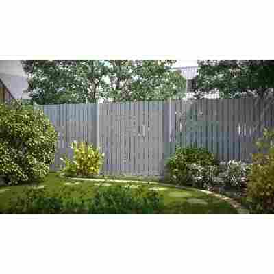 Zaun auf Maß 'Squadra' silber Aluminium