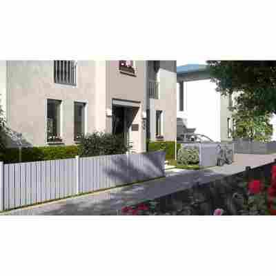 Vorgartenzaun auf Maß 'Squadra' silber Aluminium