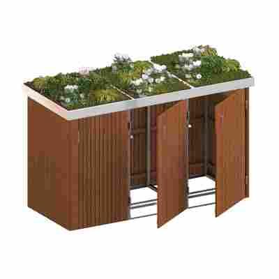 Mülltonnenbox 'Binto' mit Pflanzkasten braun 216 x 129 x 90 cm