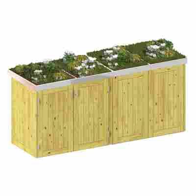 Mülltonnenbox 'Binto' mit Pflanzkasten naturfarben 282 x 129 x 90 cm