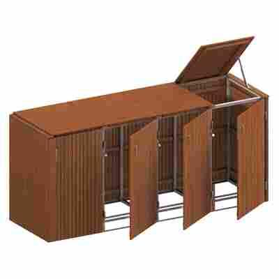 Mülltonnenbox 'Binto' mit Klappdeckel braun 272 x 125 x 84 cm