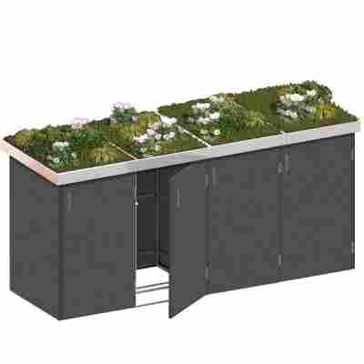 Mülltonnenbox 'Binto' schiefer 282 x 129 x 90 cm, mit Pflanzschale