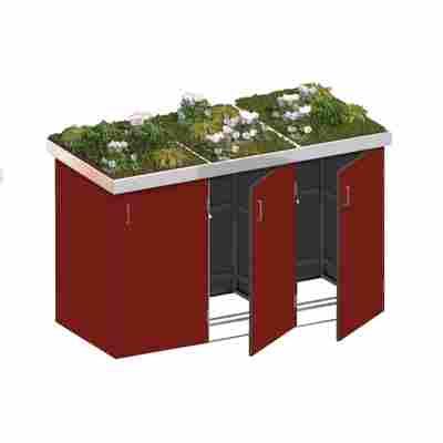 Mülltonnenbox 'Binto' mit Pflanzkasten rot 216 x 129 x 90 cm
