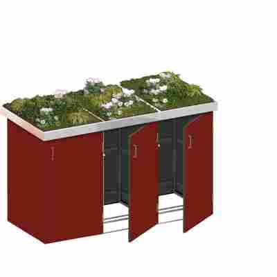 Mülltonnenbox 'Binto' rot 216 x 129 x 90 cm, mit Pflanzschale