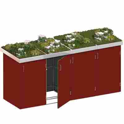 Mülltonnenbox 'Binto' mit Pflanzkasten rot 282 x 129 x 90 cm