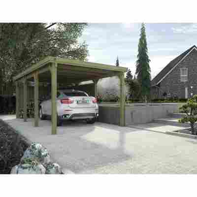 Flachdach-Carport '617' ohne Dacheindeckung, kieferfarben, Gr. 2, 612 x 322 cm