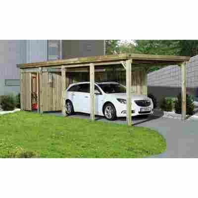 Flachdach-Carport '617' ohne Dacheindeckung, kieferfarben, Gr. 3, 802 x 322 cm