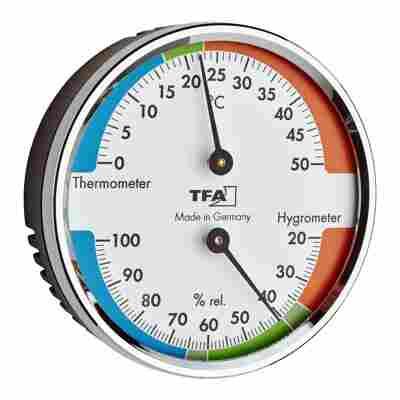 Thermo- und Hygrometer verchromt Ø 7 cm