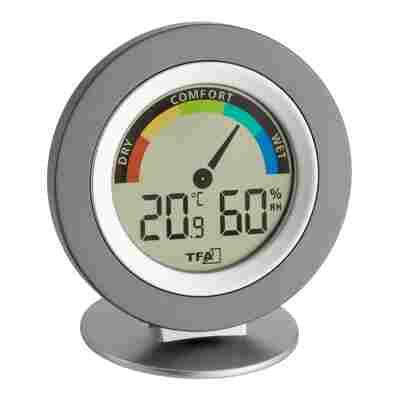 "Thermo- und Hygrometer digital ""Cosy"" rund grau/silbern"