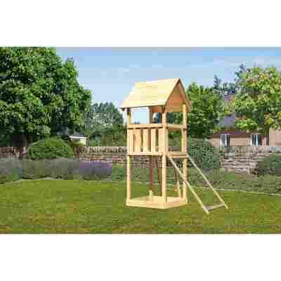 Kinderspielturm 'Lotti' Satteldach, Netzrampe, 107 x 107 x 291 cm