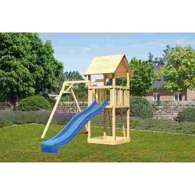 Kinderspielturm 'Lotti' Einzelschaukel, Rutsche blau, 257 x 242,5 x 291 cm