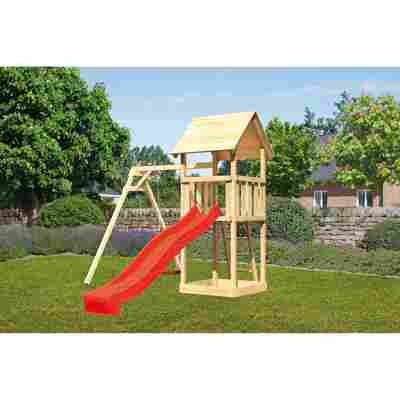 Kinderspielturm 'Lotti' Einzelschaukel, Rutsche rot, 257 x 242,5 x 291 cm