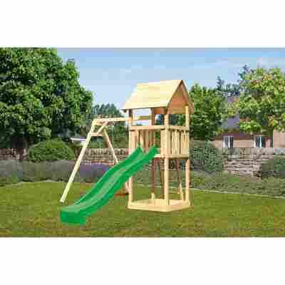 Kinderspielturm 'Lotti' Einzelschaukel, Rutsche grün, 257 x 242,5 x 291 cm