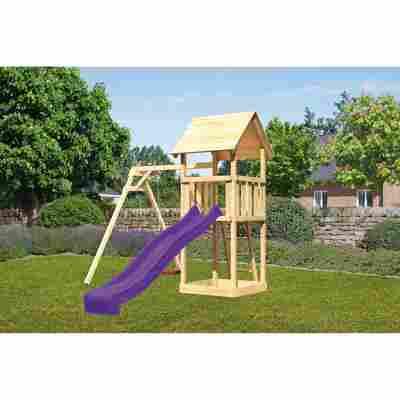 Kinderspielturm 'Lotti' Einzelschaukel, Rutsche violett, 257 x 242,5 x 291 cm