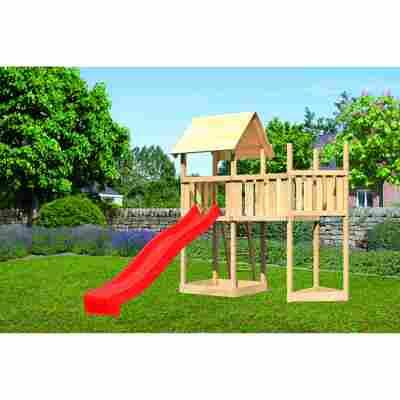 Kinderspielturm 'Lotti' Schiffsanbau, Anbauplattform, Rutsche rot, 287,5 x 107 x 291 cm