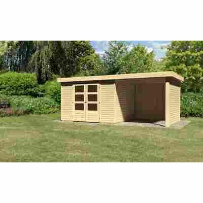 Karibu Systemhaus Dornhan 5 Set 2 inkl. Anbau 2,20 m mit Seiten- und Rückwand naturbelassen