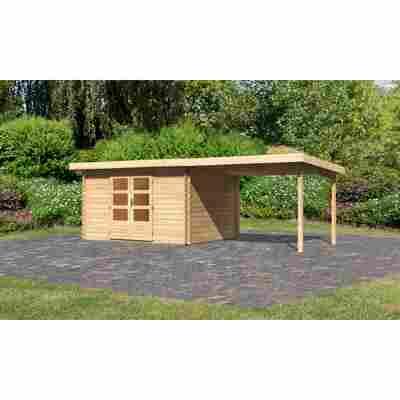 Karibu Blockbohlenhaus Rieneck 7 Set 3 inkl. Anbau 3 m naturbelassen