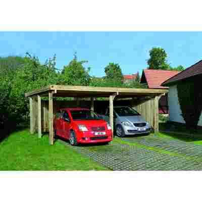 Flachdach-Doppelcarport, ohne Dacheindeckung, 600 x 512 cm