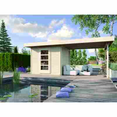 Premium-Design-Gartenhaus 'Fineline' Größe 1, mit Anbau