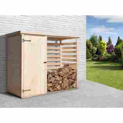Brennholzlager mit Geräteraum naturfarben 240 x 193 x 90 cm