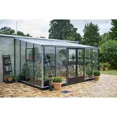Gewächshaus 'Veranda' 12,9 m², 3 mm Sicherheitsglas, alu/schwarz