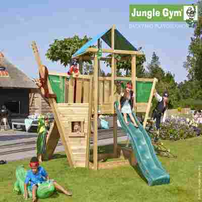 Spielturm Jungle Hut & Schiffsanbau mit Klettergerüst