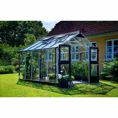 Gewächshaus 'Premium' 3 mm aluminiumfarben/schwarz 296 x 368 cm