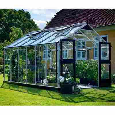 Gewächshaus 'Premium' 3 mm aluminiumfarben/schwarz 296 x 439 cm