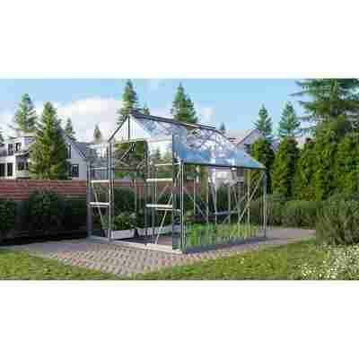 Gewächshaus 'Meridian 2 6700' 3 mm aluminiumfarben 254 x 254 cm