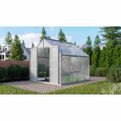 Gewächshaus 'Meridian 2 6700' 6 mm aluminiumfarben 254 x 254 cm
