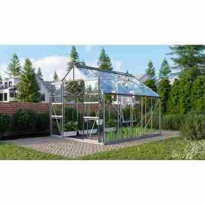Gewächshaus 'Meridian 2 8300' 3 mm aluminiumfarben 254 x 317 cm