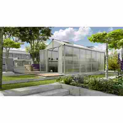 Gewächshaus 'Zeus Comfort 13800' 16 mm aluminiumfarben 266 x 547 cm