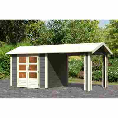Gartenhaus 'Mylau 3' mit Anbaudach 480 x 242 x 244 cm terragrau