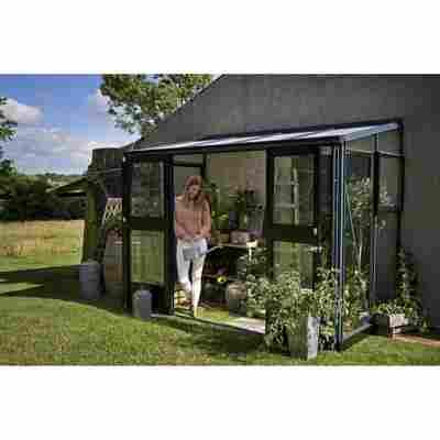 Anlehngewächshaus 'Veranda' 3 mm anthrazit/schwarz 296 x 149 cm