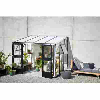 Anlehngewächshaus 'Veranda' aluminiumfarben/schwarz 296 x 221 cm