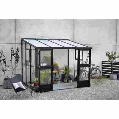Anlehngewächshaus 'Veranda' anthrazit/schwarz 296 x 221 cm